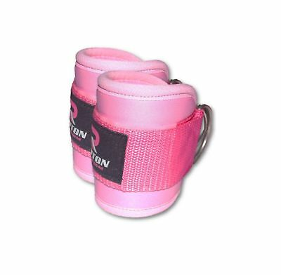 Pink Ankle Twin D-Ring Strap Multi Gym Cable Attachment Leg Thigh Pulley Lifting