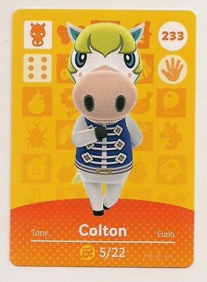 Animal Crossing amiibo Card: Colton 233 (Series 3) Horse New Leaf NA