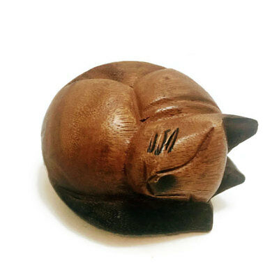 Hand Carved Small Wooden Curled Cat, Cat nap, Home & Office Decor, Cute Kitty