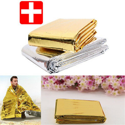 Premium FOIL Thermal Emergency Blanket First Aid Waterproof Camping Survival PQ