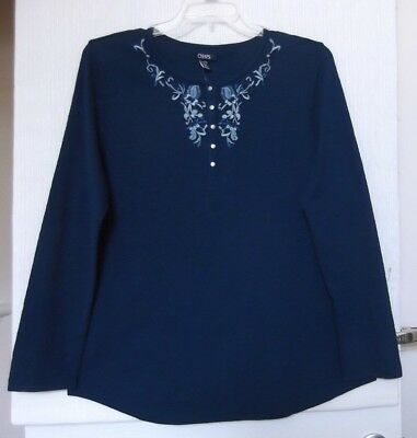 Chaps Size 3X Navy knit henley with embroidery, long sleeve, great to layer, NWT