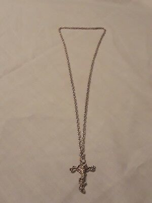 Raw Sterling Silver Cross with Jesus Pendant And Necklace-Vintage