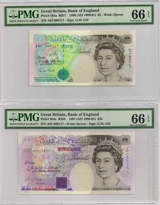 Great Britain,Bank of England,5,20 Pounds,matching number A01 000117,PMG 66EPQ