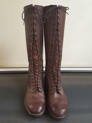 Original Model 1931 Us Cavalry Tall Lace-Up Boots In Rare Large Size
