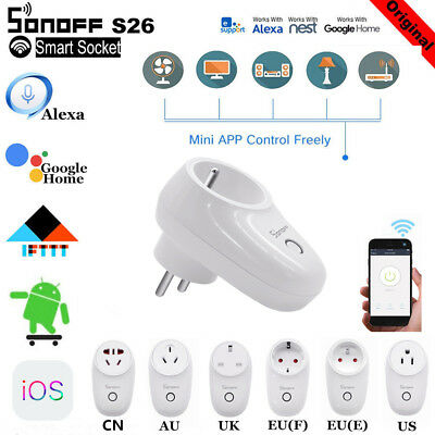 Sonoff S26/S20 WIFI Smart Power Socket Switch APP Remote Timer For Google lot UU