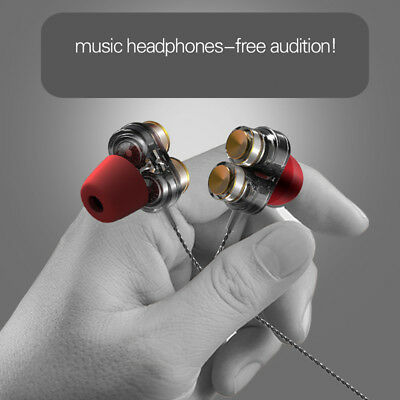 Earphone Dual Dynamic Driver Headphone Super Bass Stereo Headset With Mic SK2