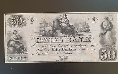1850's  $50 CANAL BANK NEW ORLEANS, LOUISIANA NOTE....