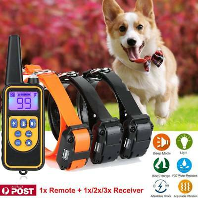 Electric Remote Dog Training Collar Anti Bark 800m Range Auto mode + 3 Receiver