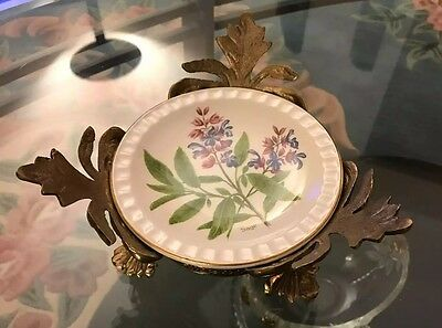 Vintage Weatherby England Royal Falcon 'Sage' Porcelain Plate w/ Brass Base CUTE