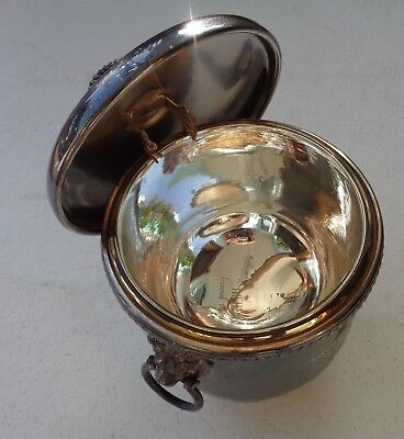 Ice Bucket Sheffield Silver Co Lion Ring Handles made in USA EPC Silverplate