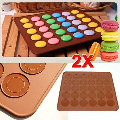 2x Silicone Macaroon Pastry Cake Cookies Baking Sheets Mat Mould Molds Coffee JS