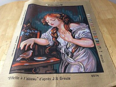 TAPESTRY CANVAS - GIRL WITH BIRD - COLLECTION D - canvas only
