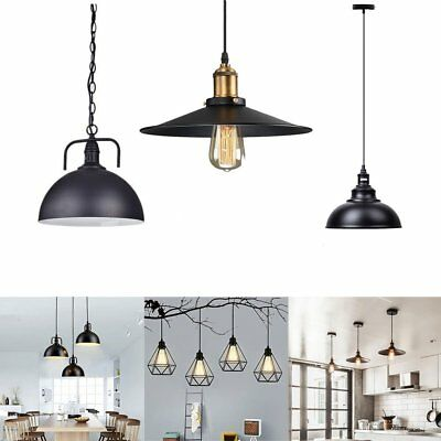 Vintage Industrial Loft Style Hanging Pendant Light Ceiling Glass Lamp Shade USA