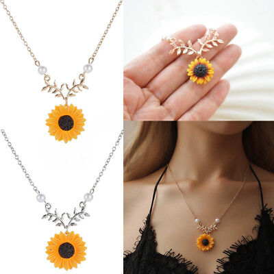 Women Boho Pendant Clavicle Cute Sunflower Necklace Leaf Branch Jewelry