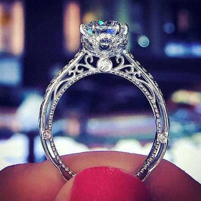 1.20 Ct Round D/VVS1 Diamond 14K White Gold Fn Solitaire Vintage Engagement Ring