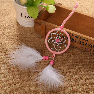 5AAD Dream Catcher Home Decor Pink Feather Indian Style Car Decoration Beauty