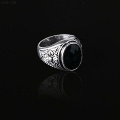 0493 Men's Black Onyx Silver Stainless Steel Finger Ring Punk Jewelry Retro Fash