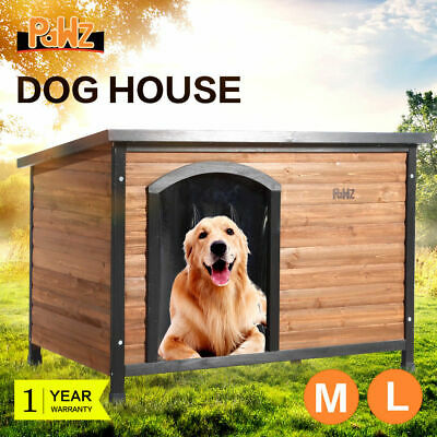 PaWz Pet Dog Timber House Kennel Wooden Home Outdoor Box Cabin Puppy Window AU