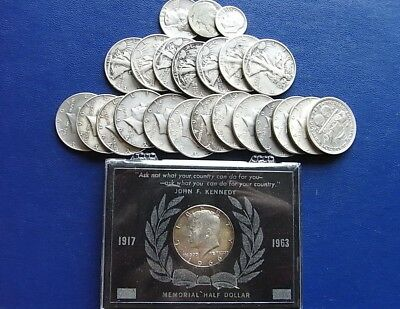 USA silver coins: Half dollars, dime and quarter