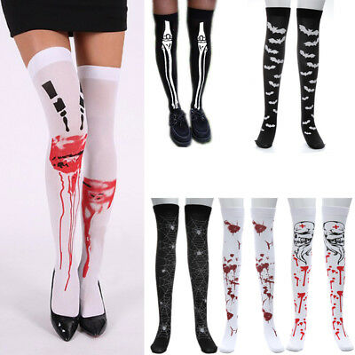 UK Womens Over The Knee Thigh High Elastic Long Socks Fancy Stocking Halloween