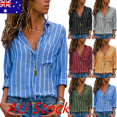 Womens V-neck Tops Loose Long Sleeve T-Shirt Casual Blouse Summer Autumn Shirts