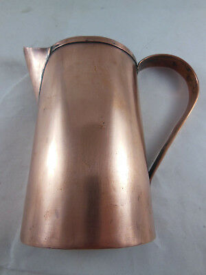 """Vintage or antique Flat back Wall Handmade Copper 4.5"""" tall Pitcher"""