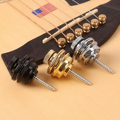 Gold Flat Head Skidproof Round Strap Lock For Electric Acoustic Guitar Basses