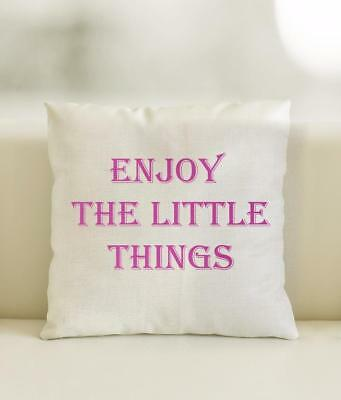 Linen Style Cushion Cover Enjoy the little thing scatter cushion sofa furnishing