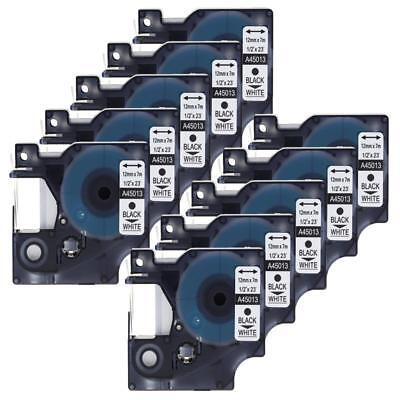 """10PK 45013 Black on White Label Tape For DYMO D1 Labelmanager S0720530 12mm 1/2"""""""