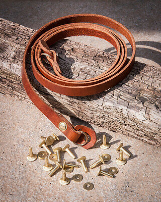 40 inch 10mm Chestnut Camera Strap with Solid Brass Rivets and Rings