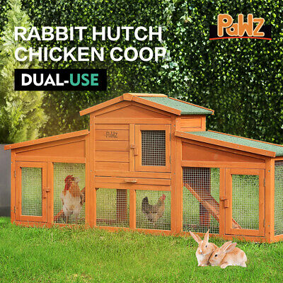 Large Dual Use Wooden Chicken Rabbit Hutch Hen Coop Ferret Cage with Double Run
