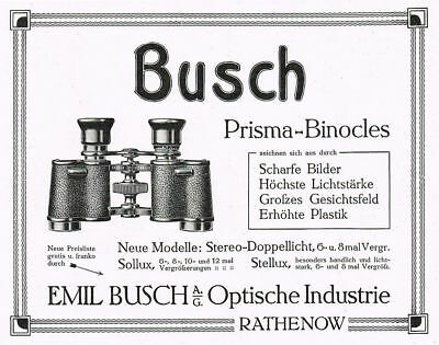 RATHENOW, Werbung 1910, Prismen Binocles Optik Emil Busch, Reklame
