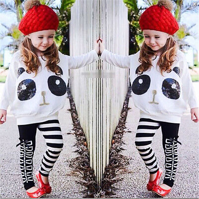 2PCS Toddler Kids Baby Gir Panda Top Dress Pants Leggings Outfits Set Clothes