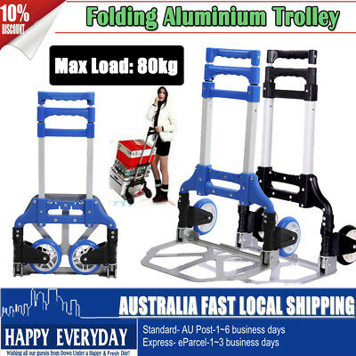 80KG Folding Compact Aluminium Hand Truck Trolley Luggage Cart Foldable Wheels