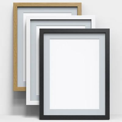 Black White Oak Picture Poster Photo Frame With Grey Mount Wood Effect All sizes