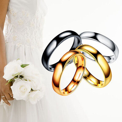 New Unisex Stainless Steel High Polished Black or Gold Wedding Band Finger Ring