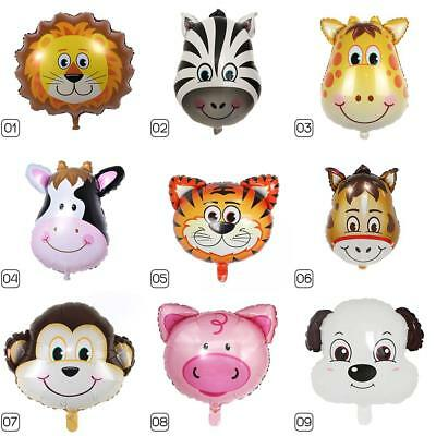 Cartoon Animal Head Aluminum Foil Balloons Children's Birthday Party Decor #X