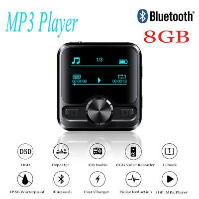 HIFI Bluetooth Sports Clip MP3 Player Music Media Voice Recorder 8GB FM Radio