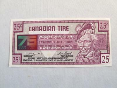 VINTAGE CANADIAN TIRE 1922-1997 75 th YEARS MONEY 25 CENTS NOTE  # 7513167794