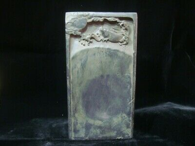 """Rare Chinese Antique Ink Stone Hand Carved Ink Slab """"WangWenZhi"""" Marks"""