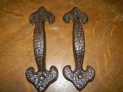Set/2 Hammered Finish Cast Iron Handle  or Pull Wrought Barn Drawer Bin Gate