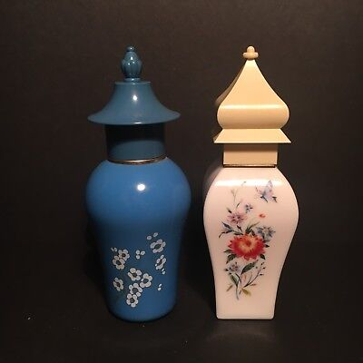 2 Charming Vintage Avon Perfume Bottles Vanity Collectables Blue White Oriental
