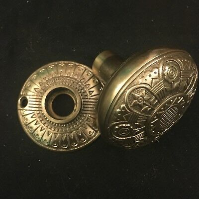 Antique Nashua VICTORIAN Eastlake  Cast Bronze DoorKnob And Rosette