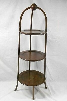 Antique Victorian 3 - Tier Mahogany Wood Pie Muffin Display Pant Stand