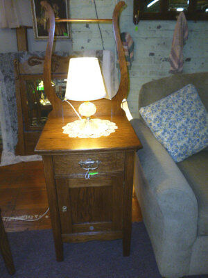 """Antique nightstand Oak 1900's end table brass hardware refinished 19"""" wide harp"""