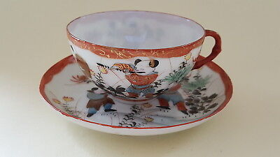 Japanese Kutani vintage Victorian oriental antique musician cup & saucer duo