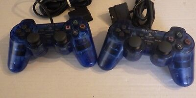 Set Of 2 OEM Clear BLUE Sony PlayStation 2 Dual Shock Controller Tested working