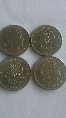 (LOT OF 4) Greek 1994 One Hundred (100) Drachma Collectable Coin - Greece Apaxme