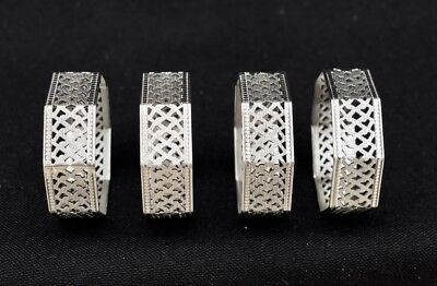 4 VINTAGE ART DECO STYLE PIERCED SILVER NAPKIN RINGS OCTAGONAL ( Eight Sided )