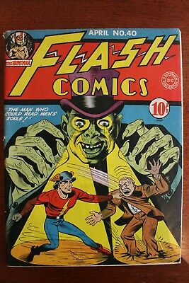Flash Comics #40, 1943 DC Comics, Apparent VF 8.0 Grade With Color Touch